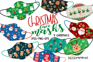 Print on Demand: Christmas Face Masks Graphic Illustrations By DigitalPapers