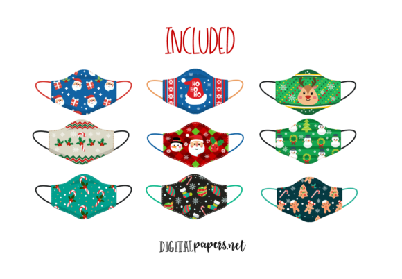 Christmas Face Masks Graphic Download