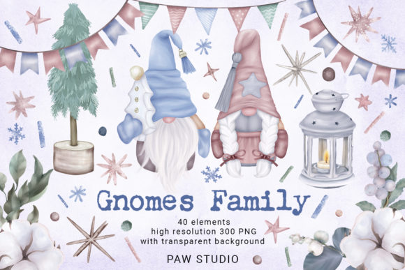 Christmas Gnome Family Tree Lantern Star Graphic