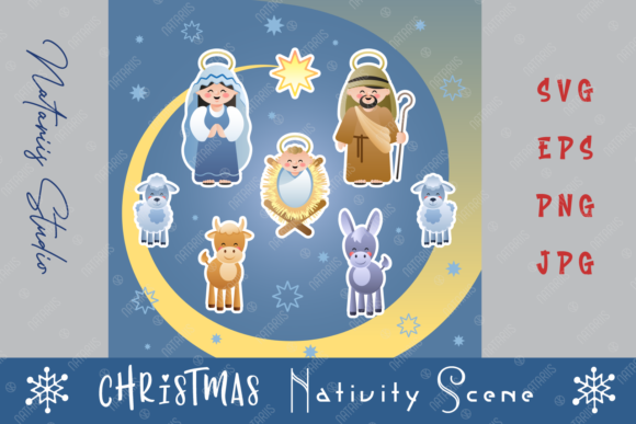 Christmas Holy Family Nativity Scene Graphic Crafts By Natariis Studio