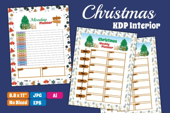 Print on Demand: Christmas KDP Interior Daily Weekly Plan Graphic KDP Interiors By edywiyonopp