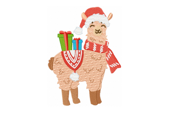 Christmas Llama with Presents Baby Animals Embroidery Design By Sew Terific Designs