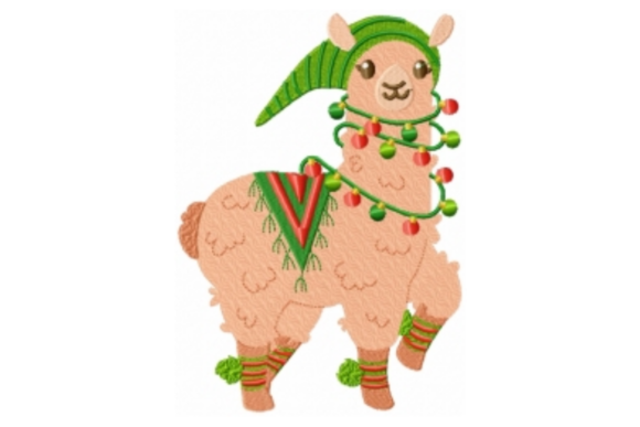 Christmas Llama with Hat Embroidery