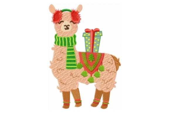 Christmas Llama with Poncho Embroidery