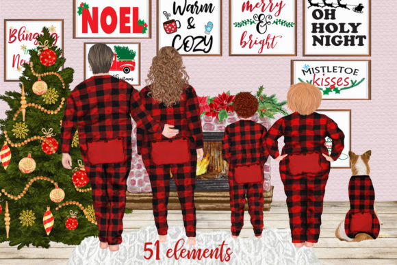 Christmas Plus SIze Family Clipart Graphic Illustrations By LeCoqDesign