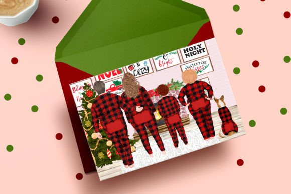 Christmas Plus SIze Family Clipart Graphic Preview