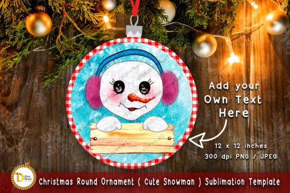 Christmas Round Ornament -sublimation Graphic Crafts By dina.store4art