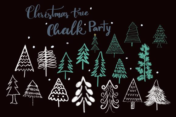 Christmas Tree Chalk Party Graphic Illustrations By PoyJazz