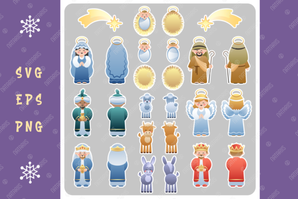 Christmas Two Sided Nativity Stickers. Graphic Crafts By Natariis Studio
