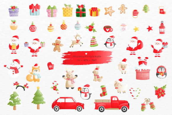 Christmas Clipart, Ai, EPS, 50 PNG Files Graphic Crafts By Chonnieartwork