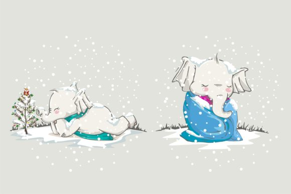 Christmas Cute Animal in Xmast Winter Graphic Illustrations By onoborgol