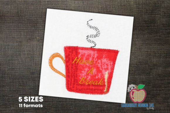 Coffee Have a Break Tea & Coffee Embroidery Design By embroiderydesigns101