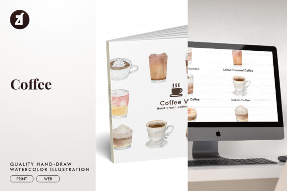 Coffee Set1 Watercolor Illustration Graphic Illustrations By Chanut is watercolor