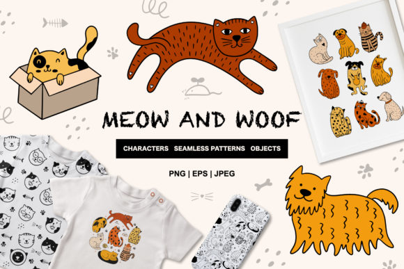 Print on Demand: Cute Cats and Dogs Graphic Objects By alonasavchuk84