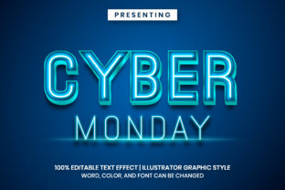 Print on Demand: Cyber Monday Neon Light Text Styles Graphic Add-ons By Farizky Studio