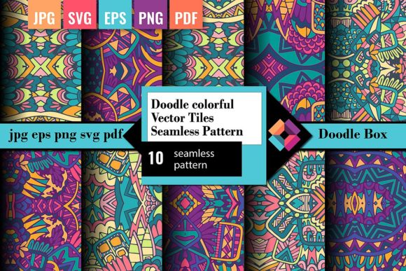 Doodle Colorful Vector Seamless Patterns Graphic Patterns By DoodleBox