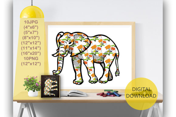 Elephant Digital Print Graphic Backgrounds By Kamal Essouafi