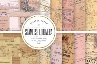 Print on Demand: Ephemera Seamless Backgrounds Graphic Backgrounds By Sabina Leja