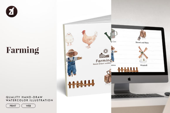 Farming Watercolor Illustration Graphic Illustrations By Chanut is watercolor