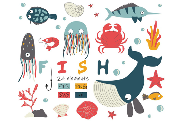 Fish Clipart with Whale, Crab, Starfish Graphic Illustrations By CuteShopClipArt
