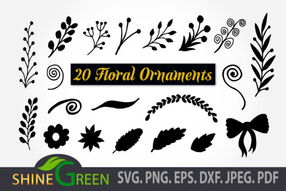 Print on Demand: Floral Bundle Leaves Ornament Clipart Graphic Crafts By ShineGreenArt
