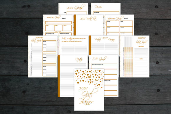 Gold Goal Planner, 2021 Planner Graphic Graphic Templates By Igraphic Studio