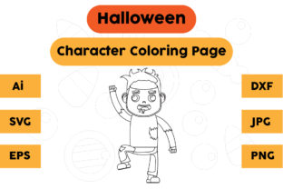 Halloween Coloring Page - Character 09 Graphic Coloring Pages & Books Kids By isalsemarang