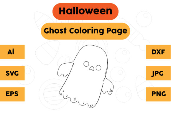 Halloween Coloring Page - Ghost 22 Graphic Coloring Pages & Books Kids By isalsemarang