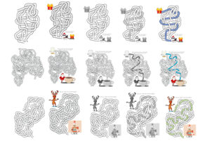 Print on Demand: Hand Drawn Christmas Weave Mazes 10-20 Graphic KDP Interiors By Kathryn Maloney 3