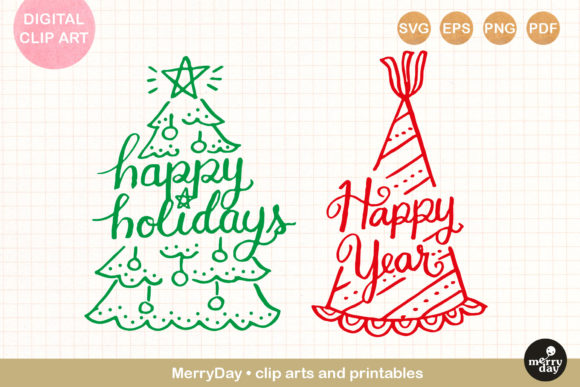 Happy Holidays Christmas Tree Party Hat Graphic Illustrations By MerryDay