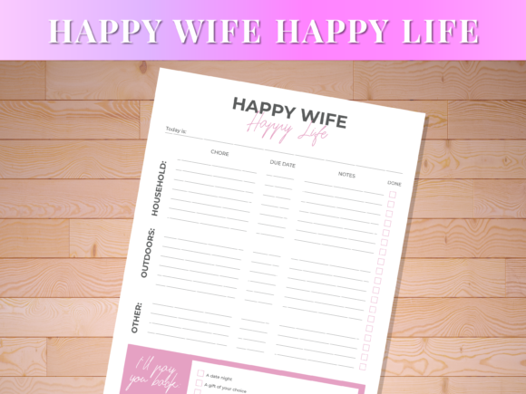 Print on Demand: Happy Wife Happy Life Graphic Print Templates By AscendPrints