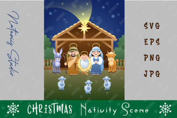 Holy Family. Christmas Nativity Scene. Graphic Crafts By Natariis Studio