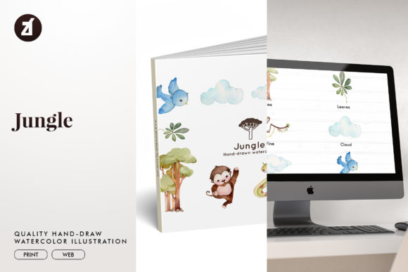Jungle Watercolor Illustration Graphic Illustrations By Chanut is watercolor