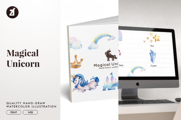 Magical Unicorn Watercolor Illustration Graphic Illustrations By Chanut is watercolor