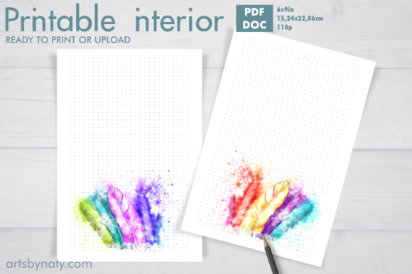 Print on Demand: Magical Watercolor Feathers KDP Bujo Graphic KDP Interiors By artsbynaty