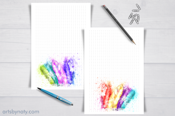 Magical Watercolor Feathers KDP Bujo Graphic Download