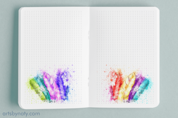 Magical Watercolor Feathers KDP Bujo Graphic Item