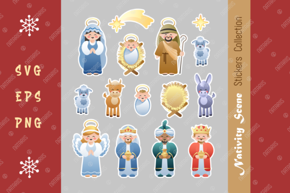 Nativity Scene Stickers Collection. Graphic Crafts By Natariis Studio