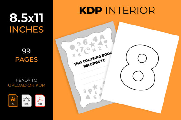 Numbers & Letters & Shapes for Coloring Graphic KDP Interiors By medelwardi