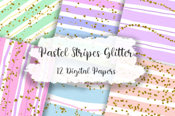 Pastel Stripes Glitter Background Graphic Backgrounds By PinkPearly
