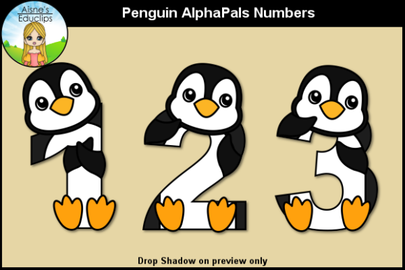 Print on Demand: Penguin AlphaPals Numbers Graphic Objects By Aisne Educlips