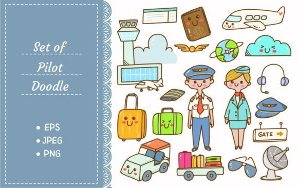 Pilot and Stewardess Doodles Graphic Illustrations By Big Barn Doodles