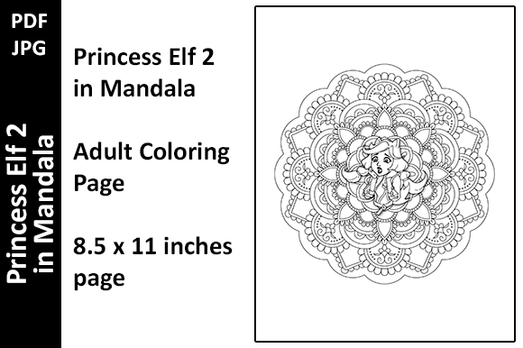 Princess Elf 2 in Mandala Coloring Page Graphic Coloring Pages & Books Adults By Oxyp
