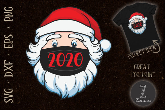 Print on Demand: Santa Wear Mask Quarantine Christmas2020 Graphic Print Templates By Zemira