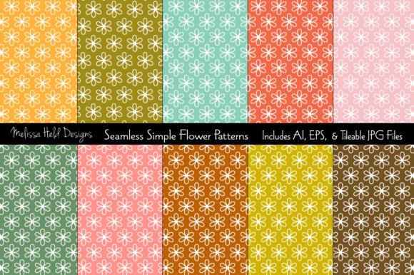 Seamless Simple Flower Patterns Graphic Patterns By Melissa Held Designs