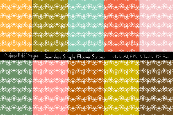 Seamless Simple Flower Stripes Graphic Patterns By Melissa Held Designs