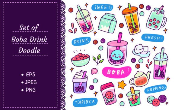 Set of Cute Boba Drink Vector Graphic