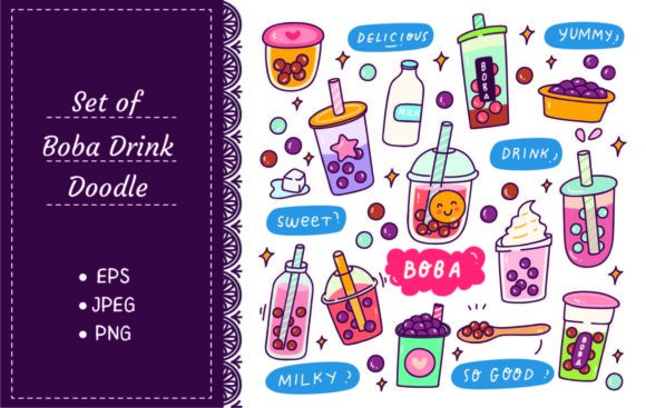 Set of Cute Boba Drink Vector Graphic Illustrations By Big Barn Doodles