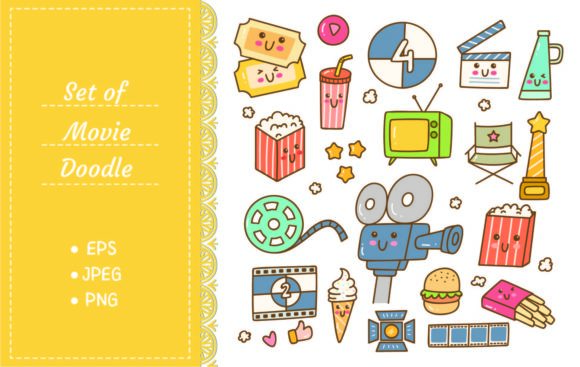 Set of Kawaii Style Movie Doodles Graphic Illustrations By Big Barn Doodles