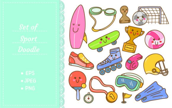 Set of Kawaii Style Sport Equipment Graphic Illustrations By Big Barn Doodles